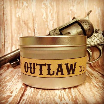 Outlaw No 1 Soy Candle-8 ounce tin -scented votive-mens fragrance-mens candle-leather fragrance-tobacco fragrance-mens scented candle