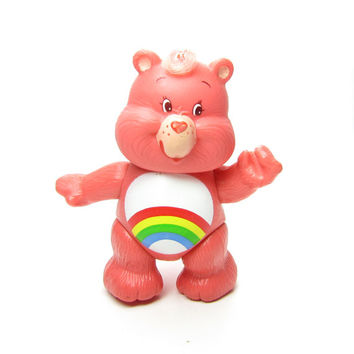 Cheer Bear Care Bears Poseable Vintage Toy Figurine Pink with Rainbow on Tummy