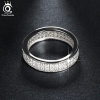 ORSA JEWELS Fashion Wedding Band Engagement Ring Paved 76 Pieces AAA Austrian Cubic Zirconia Fashion Women Jewelry Rings OR121