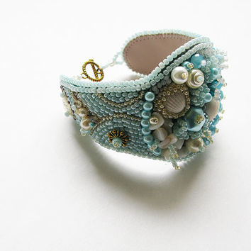 "Bead embroidery bracelet blue  cuff  hand wrist cuff designer bracelet bead embroidered jewelry  ""Seascape"""