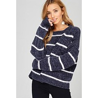 Soft Chenille Striped Sweater