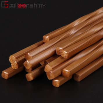 BalleenShiny Handmade Natural Wavy Wood Chopsticks Healthy Chinese Chop Sticks Reusable Hashi Sushi Food Stick Gift Tableware