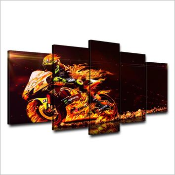 Valentino Rossi Motorcycle - Sportbike - Fire and flames Wall Art Canvas