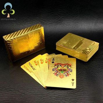 CREYLD1 One Deck Gold Foil Poker Euros Style Plastic Poker Playing Cards Waterproof Cards Good Price Gambling Board game GYH