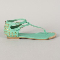 City Classified United-S Studded T-Strap Flat Sandal