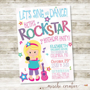 "Sweet Rocker Girl, Rockstar Birthday Party DIY Printable Invitation, 5"" x 7"""