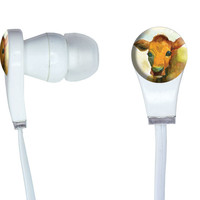 Watercolor Cow Yellow Orange In-Ear Headphones