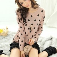 Pink Hot Sale Dots Decorated Knit Blouses : Wholesaleclothing4u.com