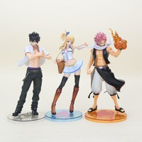 23cm Fairy Tail Natsu Dragneel Lucy Heartfilia Gray Fullbuster PVC Action Figure Model Toy