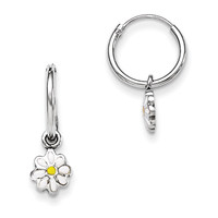 925 Sterling Silver White Enameled Daisy Girls Hoop Earrings