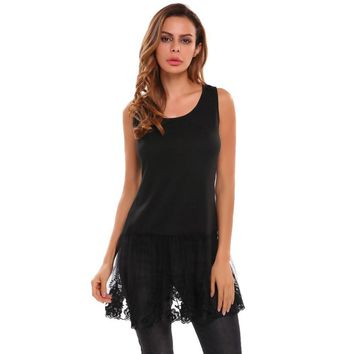 Lace Patchwork Extender Sleeveless O Neck Tops