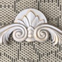 Shabby French White Gold Wall Plaque Chic Art Topper