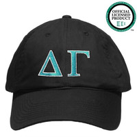 Delta Gamma (DG) Black Nike Golf Hat | Teal & White Letters
