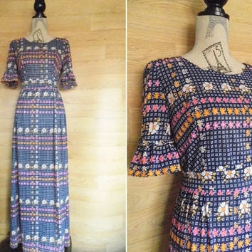 Vintage 70's Floral Bell Seeve Maxi Dress Op Art Dress Retro Dress Full Length 3/4 Sleeve Dress Boho Dress Bohemian Clothing Hippie Dress