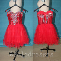 Charming Red Sequin Tulle Short Prom Dresses,Sweetheart Beaded Lace Up Cocktail Dress,Mini Length Ball Gown Dress Prom.Wedding Party Dress