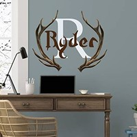 "Boys Name Wall Decal Personalized Initial Name Vinyl Sticker Rustic Nursery Horns Deer Colorful Decals Nursery Hunting Themed Decor NS2036 (12"" Tall (Wide depends on name))"