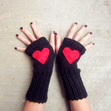 Heart Fingerless Gloves Red Black Knitted Crochet Long Hand Warmers Womens Texting Gloves