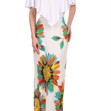 Pattern-Block Solid And Floral Print Maxi Dress 5625SF
