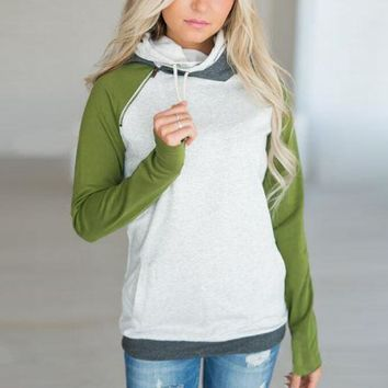 Green  Color Block Hoodies