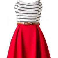 belted skated dress