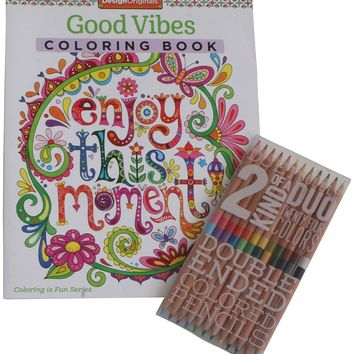 Good Vibes Inspirational Coloring Book and Pencil Set