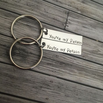 Valentines Day Gift, Set of you're my person keychains, great couples gift or best friends gift