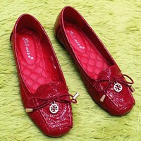 Tory Burch Fashion Women Casual Metal Logo Bowknot Flat Single Shoes Red I12993-1