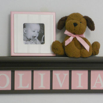 """Personalized Baby Girl Nursery Decor 24"""" Chocolate Brown Shelf with 6 Letter Wooden Blocks Painted Light Pastel Pink - OLIVIA"""