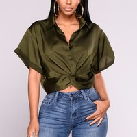 Come Follow Button Up Top - Olive