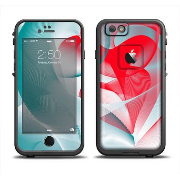 The Abstract Teal & Red Love Connect Apple iPhone 6 LifeProof Fre Case Skin Set