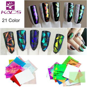 VONE2B5 KADS 21pcs/pack Holographic DIY Nail Art Broken Glass Foil Finger Stencil Decal Sticker 21 Colors Nail Art Mirror Manicure Tool