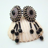 Black and Silver Bead Embroidered Ear studs, hypo allergenic