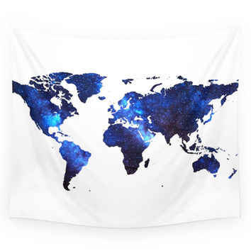 Society6 Space Milkyway World Map - Blue Wall Tapestry