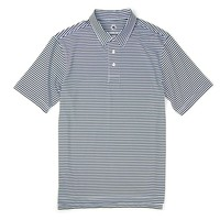 Classic Performance Polo in Blueberry and White Stripe by Southern Proper - FINAL SALE