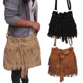 Suede Drawstring Bucket Bag Women Handbag Faux Fringe Tassel Shoulder Crossbody Messenger Bag Boho Style LXX9