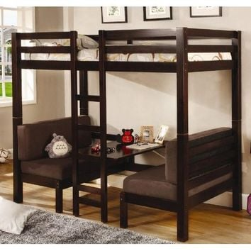 Coaster Twin Size Convertible Loft Bed in Cappuccino Finish