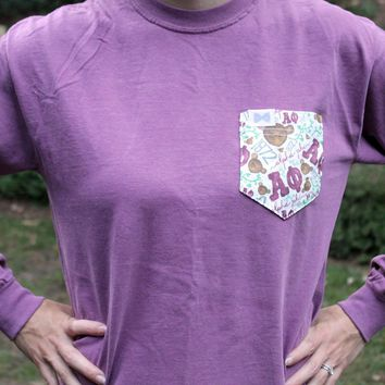 Alpha Phi Long Sleeve Tee Shirt in Berry Purple with Pattern Pocket by the Frat Collection