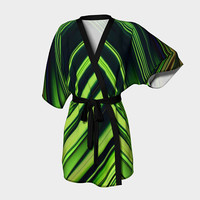Design: Diagonal Green/Black Abstract - Kimono Robe, Robe, Bath Robe, Lounge Wear, Spa Coverup, Swim Coverup, Gift for Her, Gift for Him