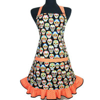 Day of the dead Apron for Women , Sugar Skulls with Orange Polka dot ruffle , Retro Kitchen Decor ,
