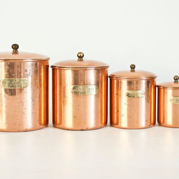 Vintage Solid Copper Canister Set, Nesting Metal Kitchen Canisters Brass Labels, Flour Sugar Coffee Dry Goods Containers