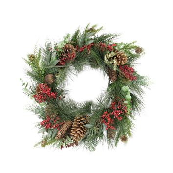 """24"""" Red Berry  Pine Cone and Eucalyptus Leaf Long Needle Pine Artificial Christmas Wreath - Unlit"""