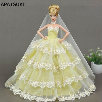 Yellow Lace Wedding Dress for Barbie Doll Princess Evening Party Wears Dress Clothes Outfits With Long Veil 1/6 Doll Accessories