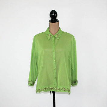 Green Cotton Blouse Women 3/4 Sleeve Button Up Top XL Embroidered Shirt Green Blouse Plus Size Clothing Vintage Clothing Womens Clothing