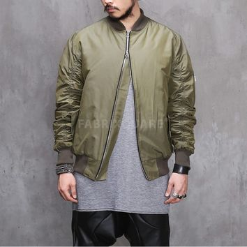 Mens FoG Shirring Sleeve MA1 Flight Bomber Jacket at Fabrixquare