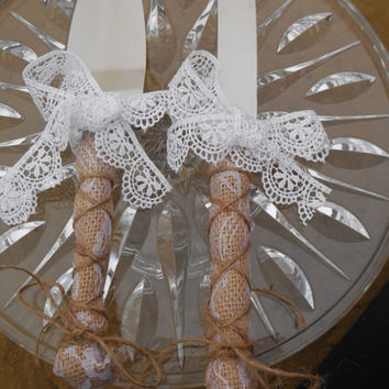 Wedding cake cutting set, rustic ivory or white lace