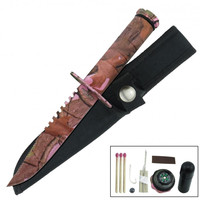 8.5 Inches Fixed Blade Sawback Survival Knife - Pink Camo