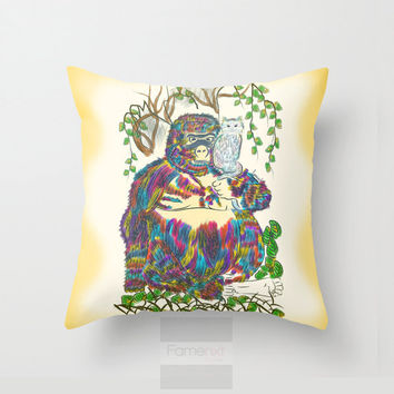 Whimsical Cute Fairy Tale Throw Pillow Cover. Colorful watercolor surreal Gorilla and Pet Cat Pillow Cover. 18 inch. Double sided Print