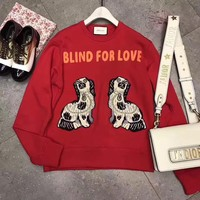 """Gucci"" Women Casual Fashion Letter Dog Embroidery Long Sleeve Round Neck Sweater Tops"