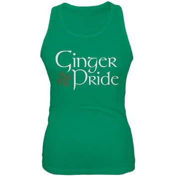 St. Patrick's Day Ginger Pride Kelly Green Juniors Soft Tank Top