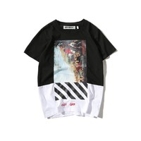 Oil painting short sleeved t-shirts for men's big code pure cotton